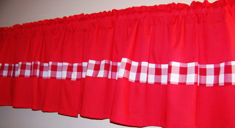 Gingham color block valance window curtain red valancekitchen