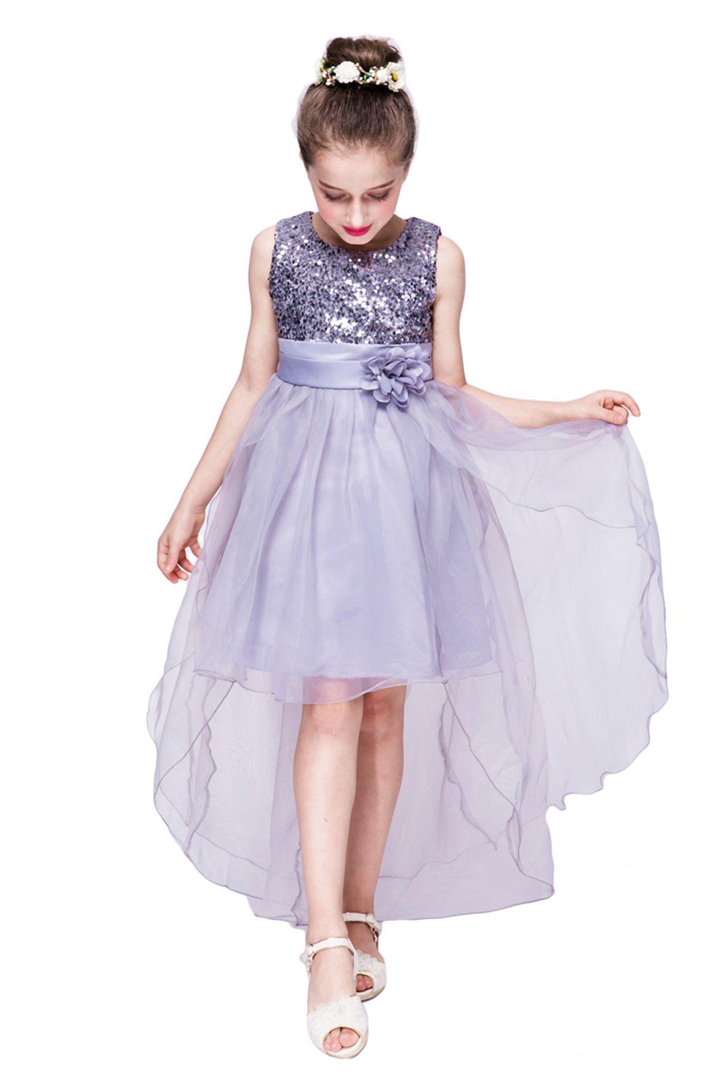 YMING Girls Sequin Dress Mesh Party High Low Wedding Princess Gray ...