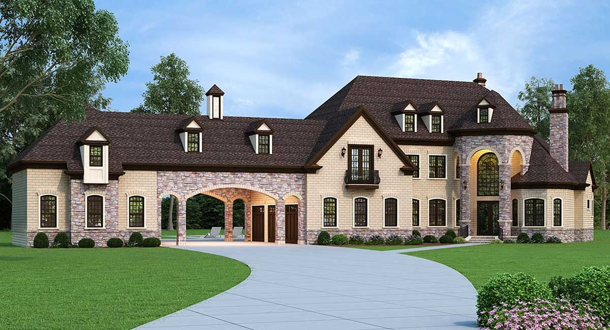 Plan 12307jl European Estate Home With Porte Cochere Luxury House Plans Country Style House Plans French Country House Plans