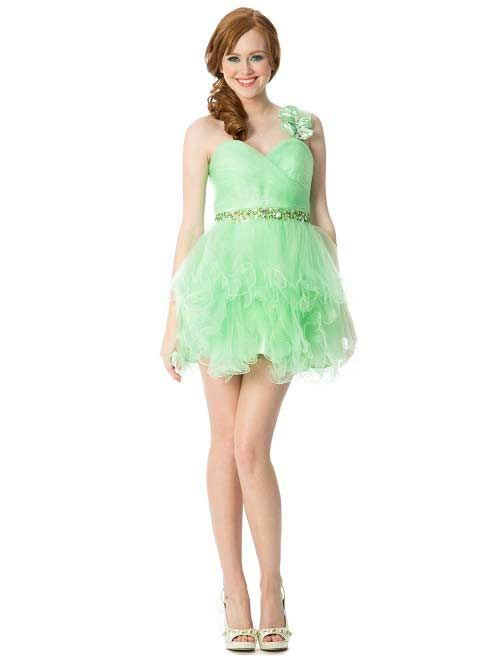 Ruffle short one shoulder mint green prom homecoming formal dresses ...