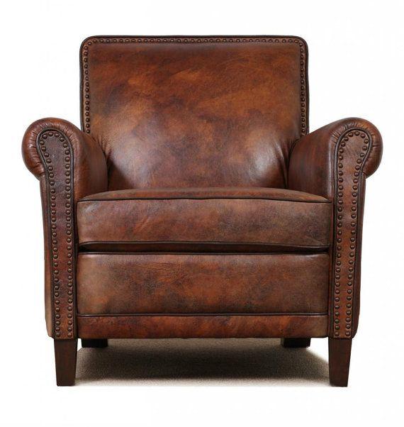 Genuine High End Leather Accent Chair Club Cigar 1 214 00 Via Etsy