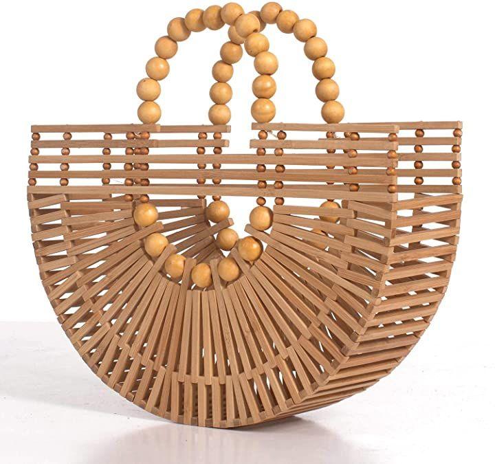 Amazon.com: RULER TRUTH Womens Bamboo Handbags with Wooden Beads Tote Bag, Handm…