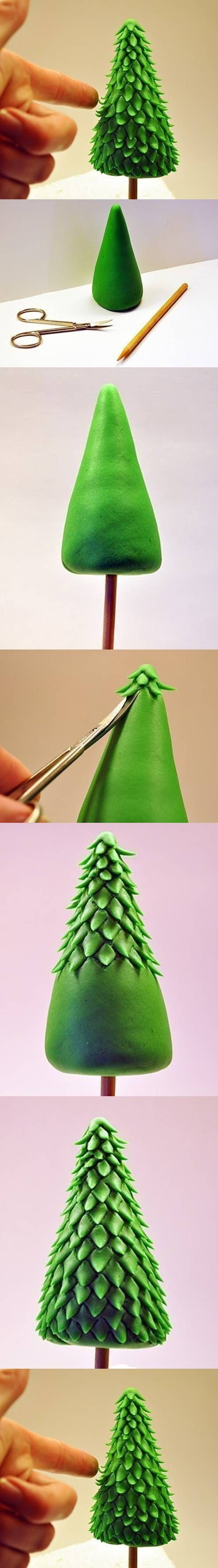 en pâte d'amande ! DIY Clay Christmas Tree