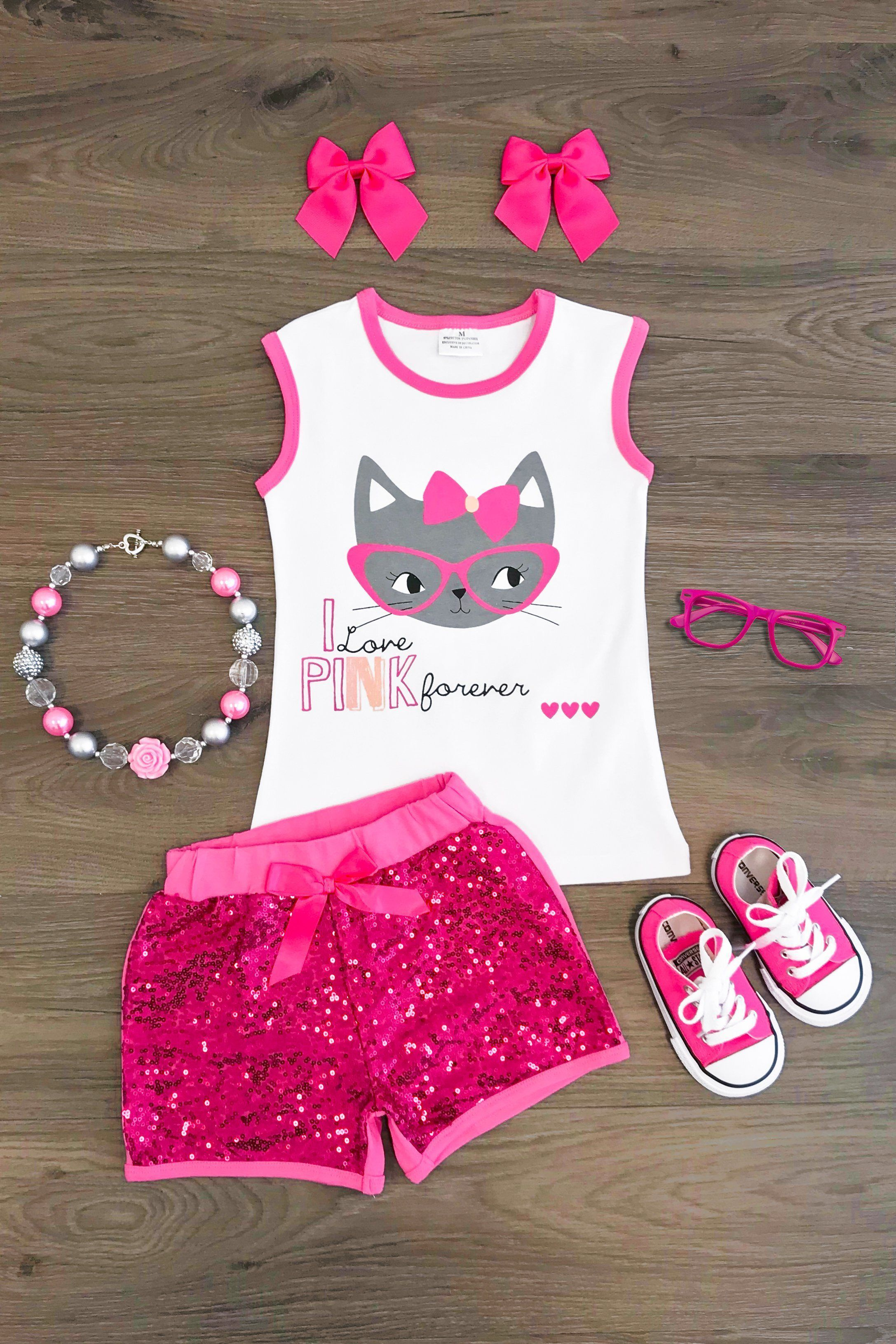 72a8d811ef68 Girls Pink and White Tank Top and Short Set -