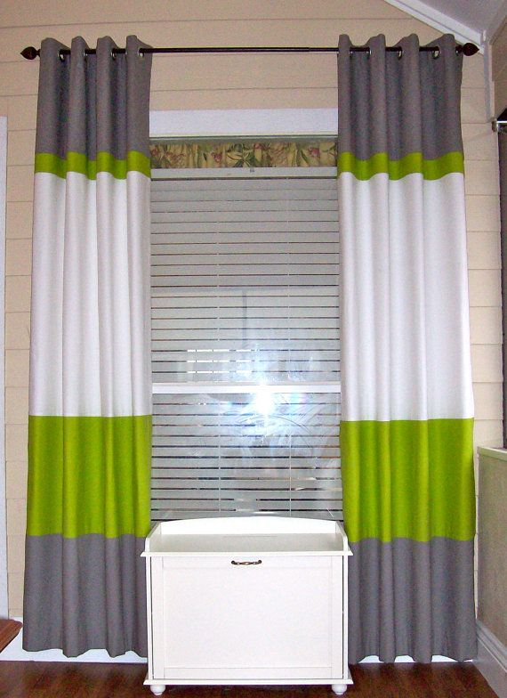 Color Block Curtain Panels Horizontal Stripe Curtain Two Panels
