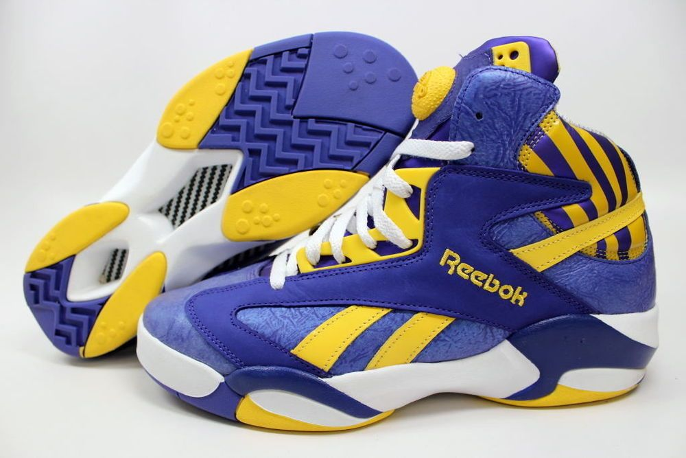 b0e9d5f8ce9 Mens Reebok Pump Shaq Attaq LSU LA Lakers Sneakers New