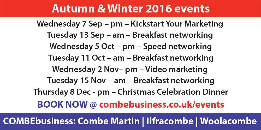 COMBEbusiness Autumn & Winter events | Combe Martin, Ilfracombe, Woolacombe, North Devon