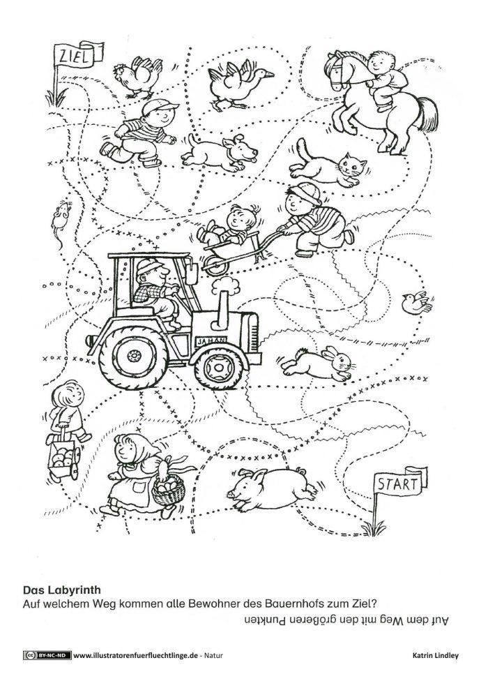 download als pdf natur bauernhof r tsel spuren lindley labyrinth thema bauernhof. Black Bedroom Furniture Sets. Home Design Ideas