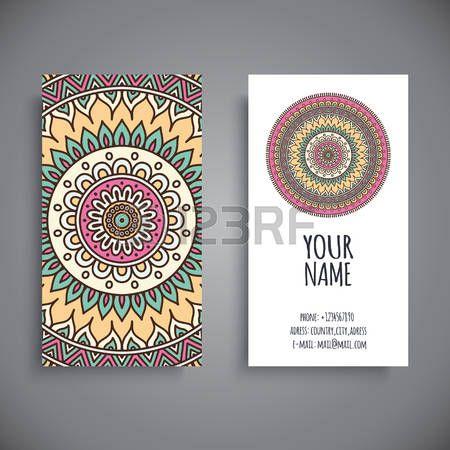 Business Card Vintage Decorative Elements Hand Drawn Background