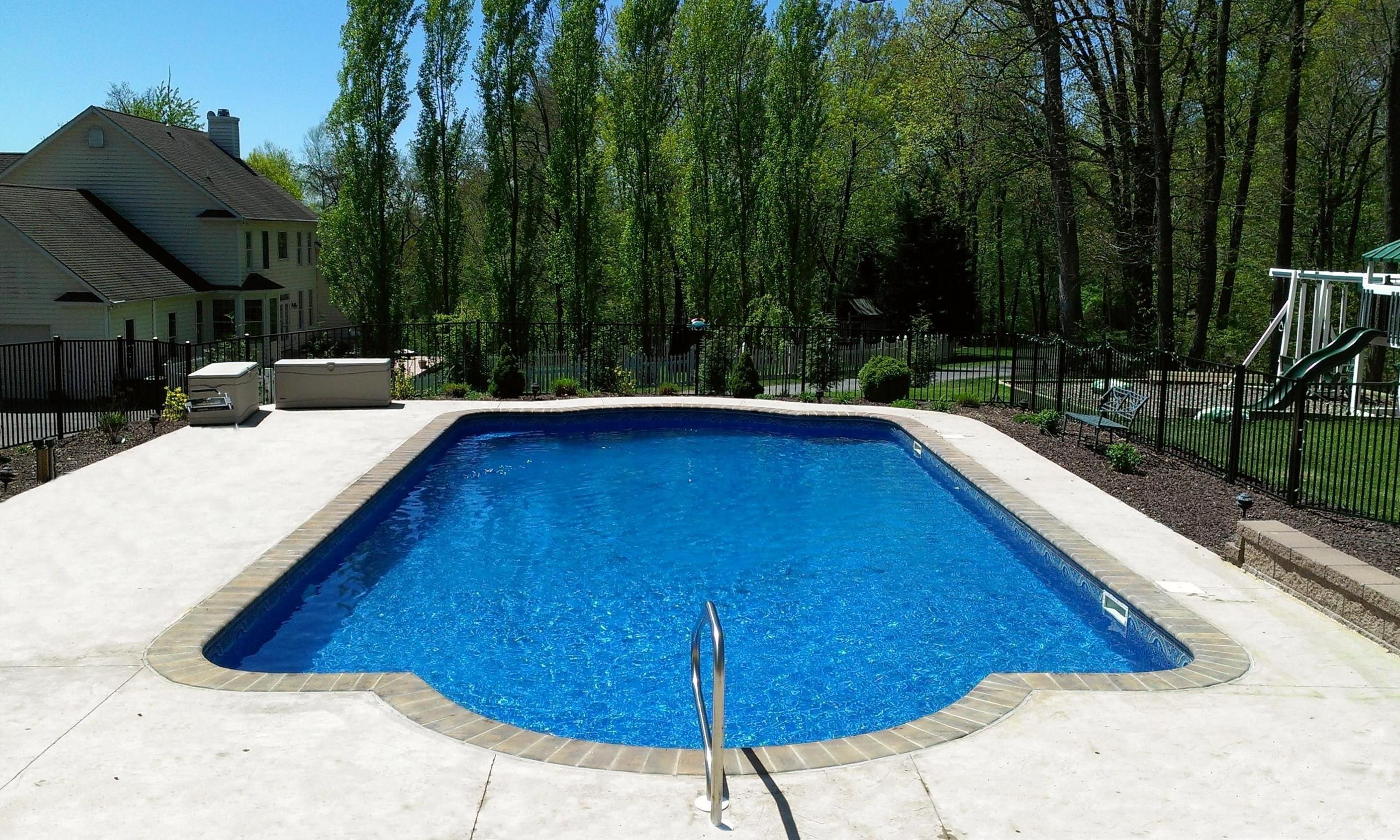 Pin By Admiral Pools Llc On Recently Completed Pool Landscaping Pool Houses Concrete Pool