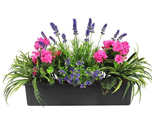 artificial mixed flower window box trough container with yucca geraniums starflower and lavender outdoor and indoor use colourful and realistic