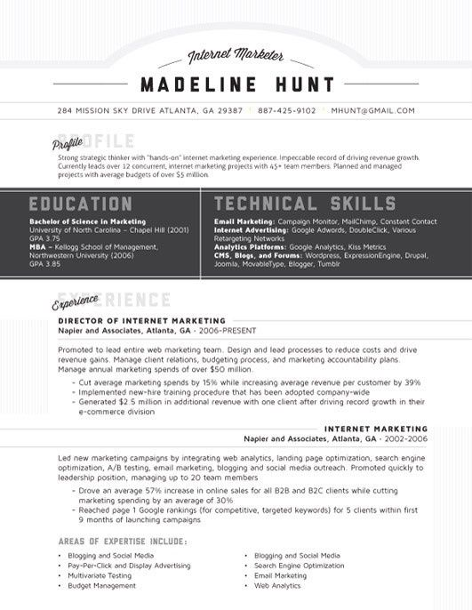 Resume Template Market Square Grey Loft Resumes Helpful Hints - kellogg resume format