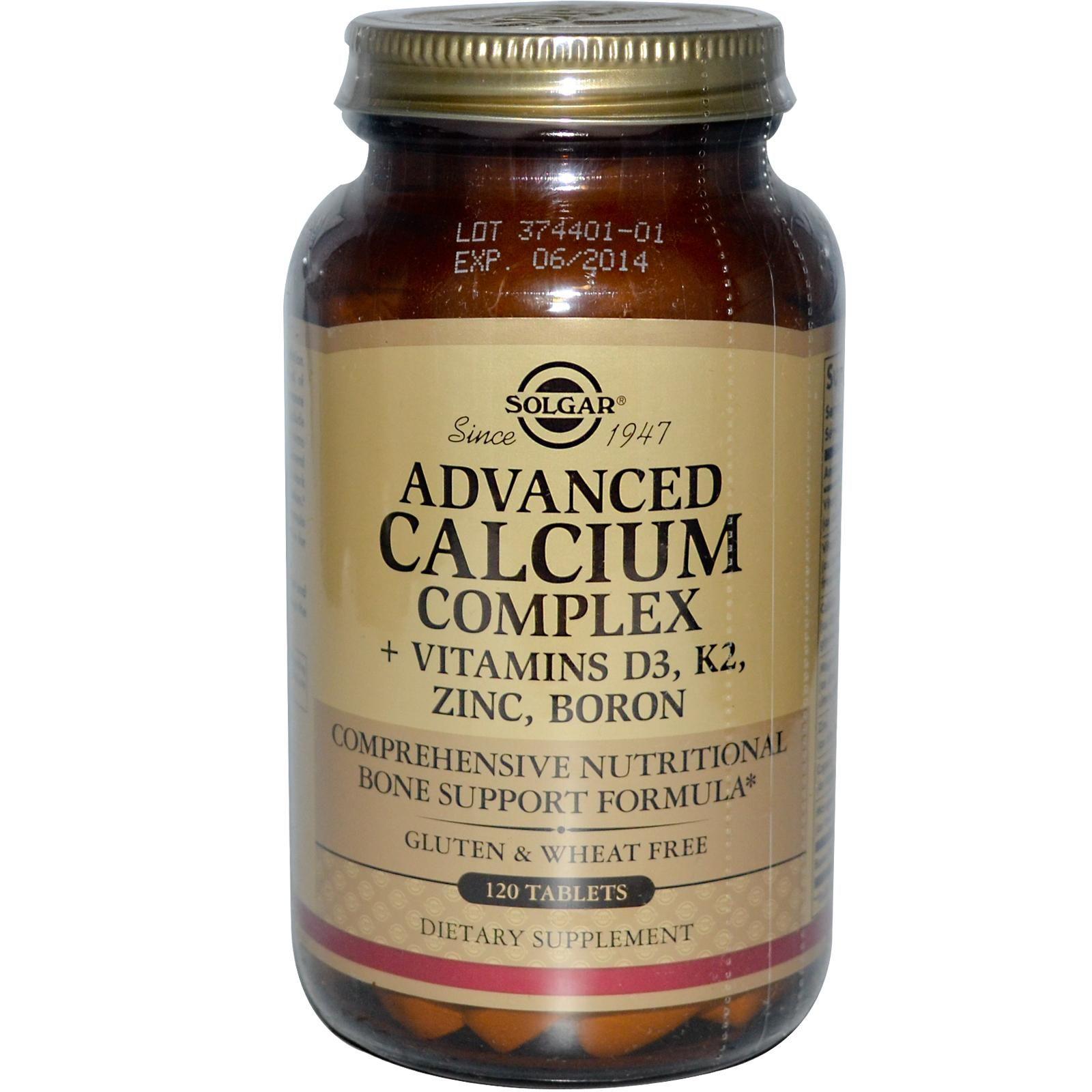 Solgar Advanced Calcium Complex Vitamins D3 K2 Zinc Boron