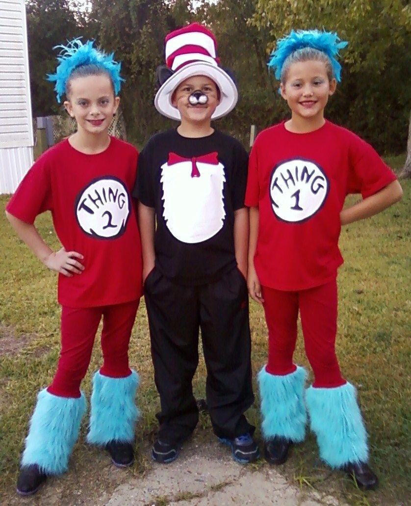 This years costumes...Cat in the Hat with Thing one and
