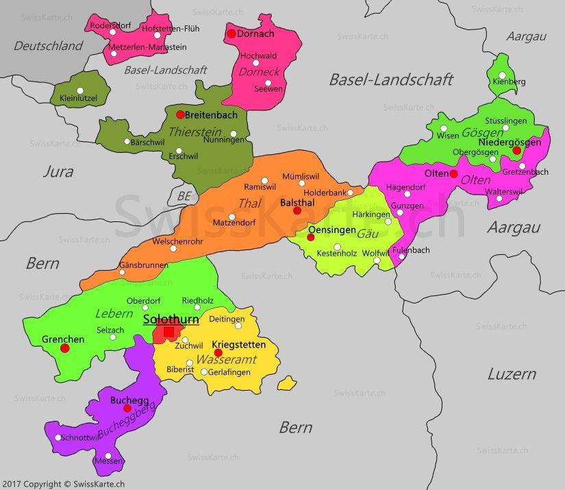 Karte Kanton Solothurn Solothurn Kanton Solothurn Dornach