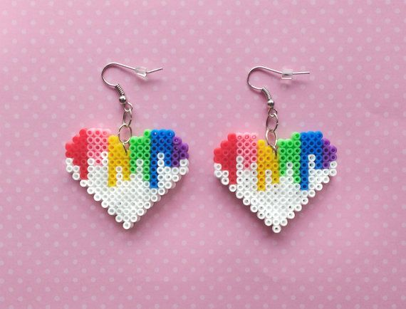 Colorful Heart Earrings - Hook or Clip-On, Geek Gifts, Pixel Jewelry, Gifts for Gamers, Nerd Gifts, Mini Perler Beads, Mini Hama Beads