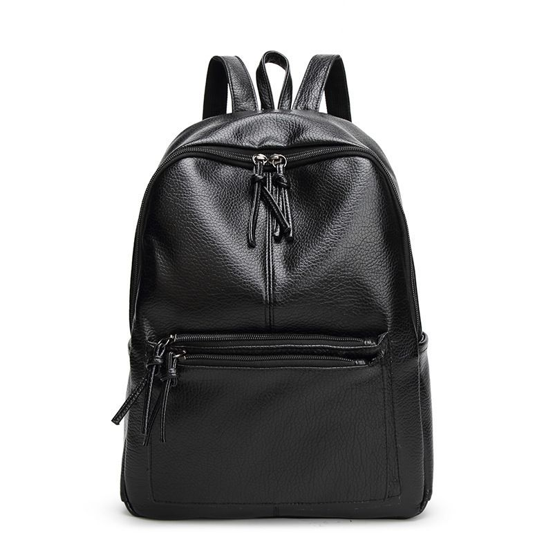 PU Leather Backpack Women Solid Black Color Backpack Hasp Zipper Backpacks  For Teenage Girls Sac A Dos b4e2b65c5f91d