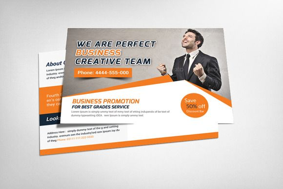 Creative Business Postcard Template by Business Templates on - postcard format template