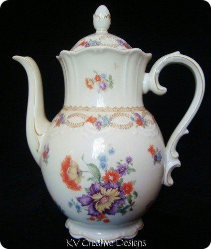 Fancy - Vintage Schumann Bavaria DRESDEN FLOWERS Floral Rococo Scalloped Coffee Tea Pot | eBay
