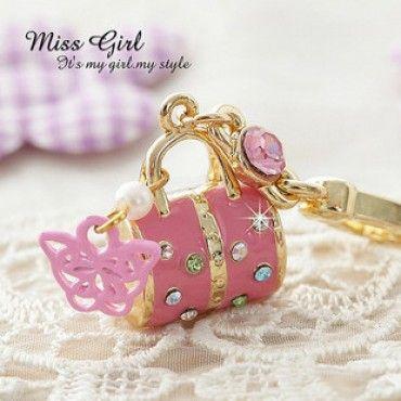 Swarovski Crystal Pink Purse Handbag Charms Pendants Ornaments $9.99