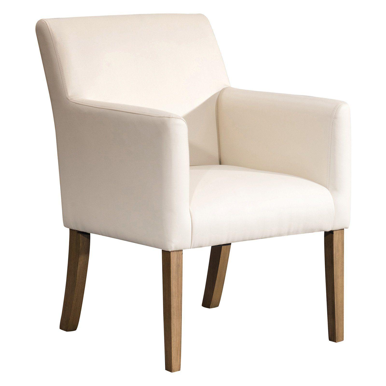 HomePop Lexington Dining Arm Chair Cream Faux leather