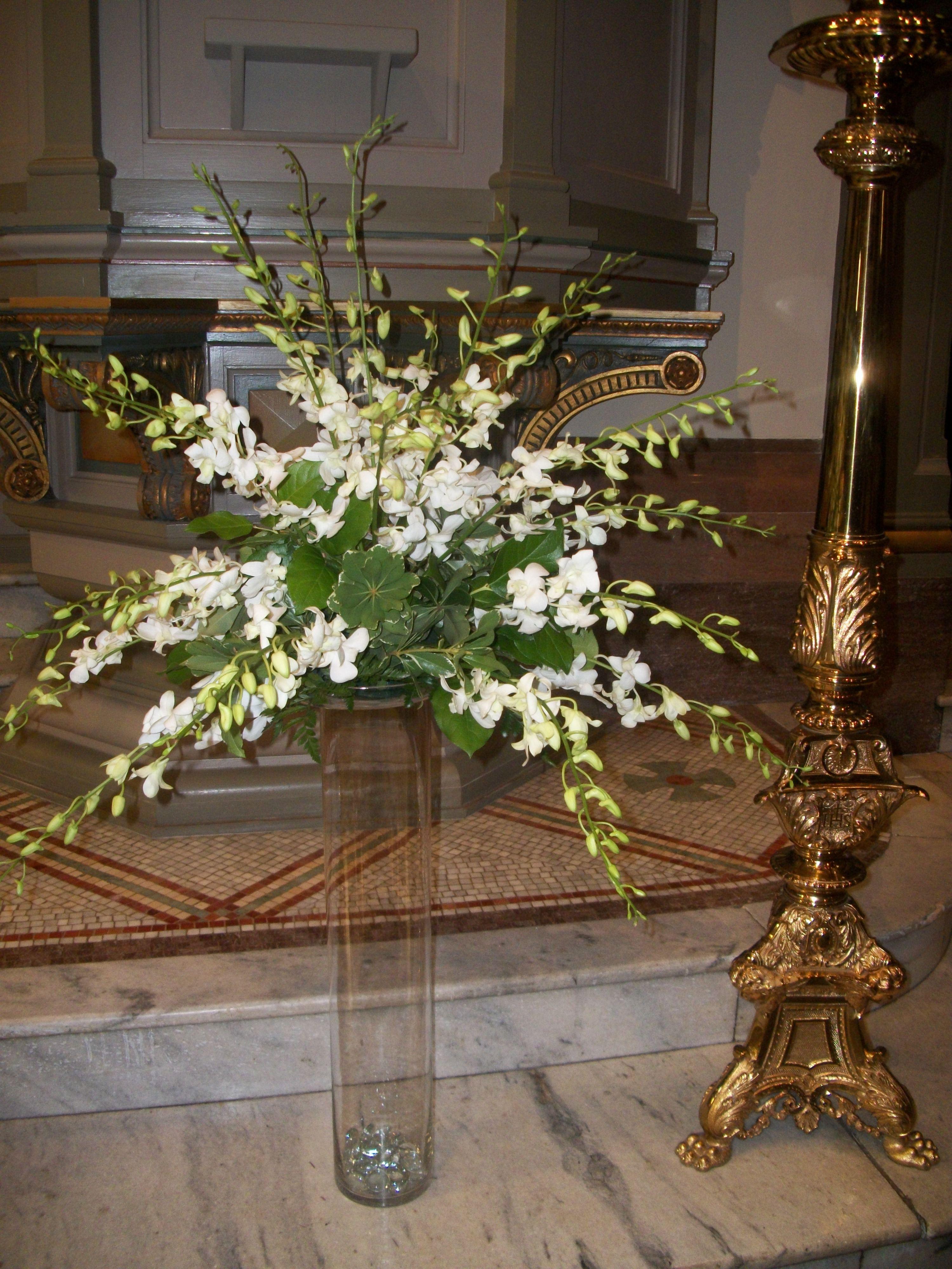 white dendrobium orchid arrangement for chapel.