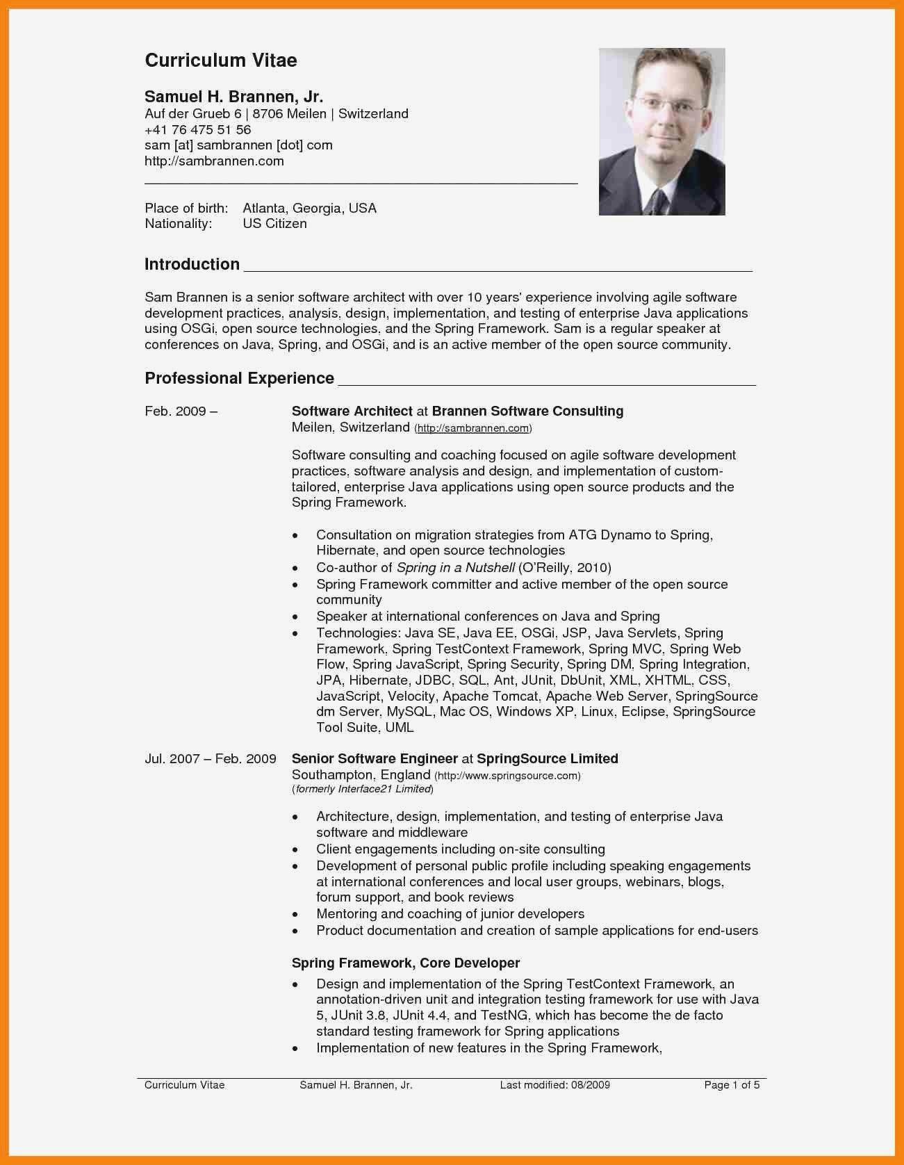 U S Resume Format Professional 2 Sample