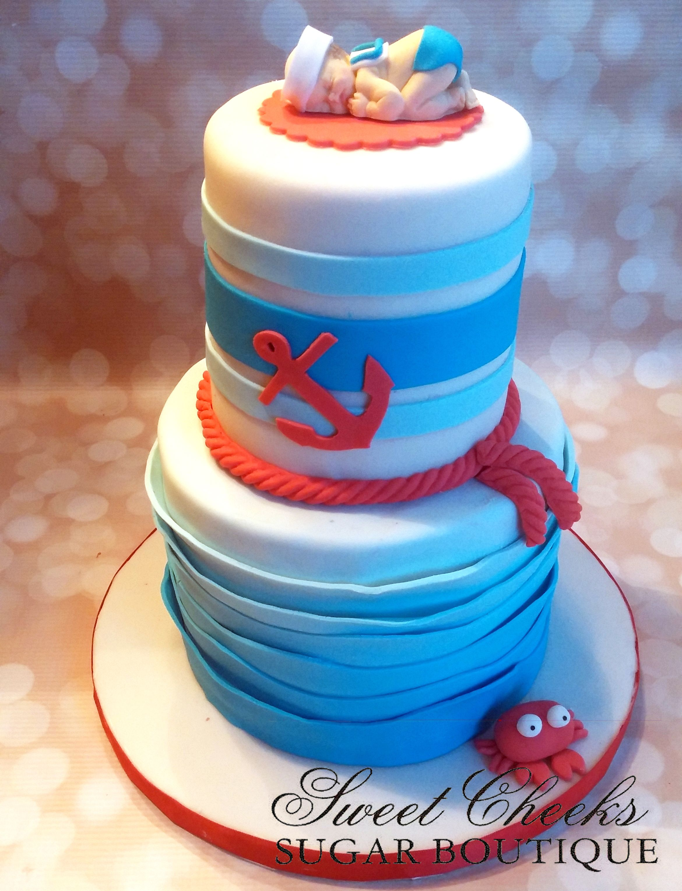 A nautical themed baby shower gender reveal cake Mom didn t know