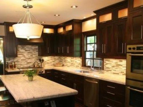 Kitchen Design: Contrast Brown Kitchen Cabinets With White Granite  Countertops
