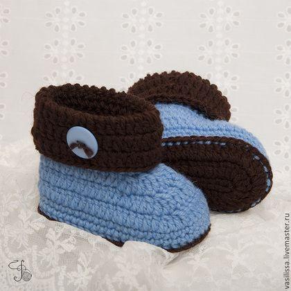 Для новорожденных, ручной работы. Ярмарка Мастеров - ручная работа Пинетки с пуговкой голубые. Handmade.