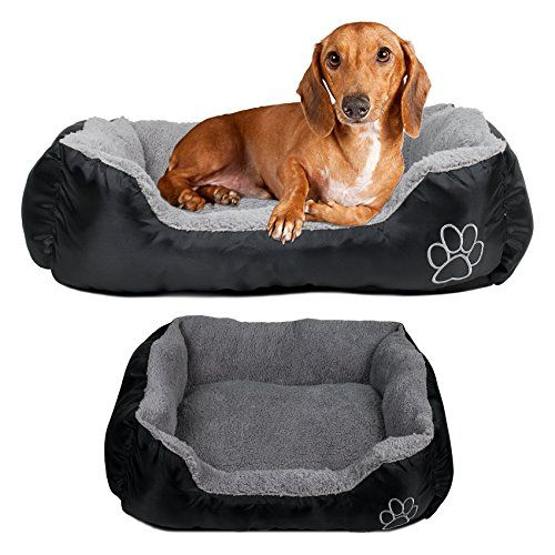 Dog Or Cat Pet Bed Rectangle Plush Cuddler 22 X 18 Black And Gray Learn More By Visiting The Image Link Dog Pet Beds Pet Bed Plush Dog Beds