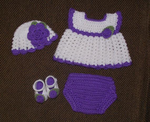 Baby Girl Crochet Diaper Dress Set  Hat by TJsCrochetCreations