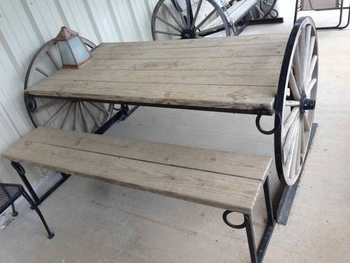 Wagon Wheel Table Picnic Custom Built Large Heavy Duty Rustic For