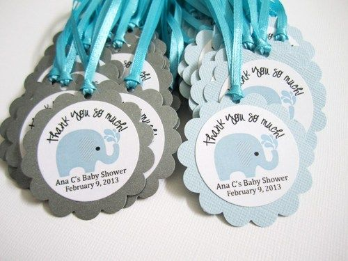 elephant favor tags for baby boy shower party in blue