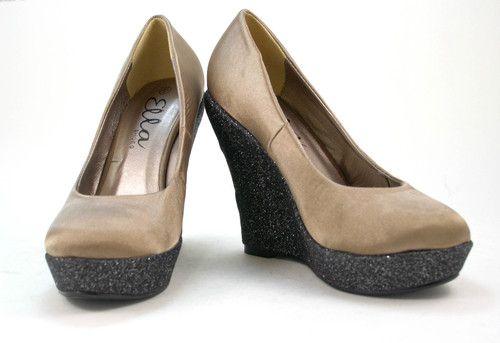 13c8b2bcd33 New Ladies Fashionable Wedge Glitter Shoes Taupe Satin UK 3 - 8 Stylish