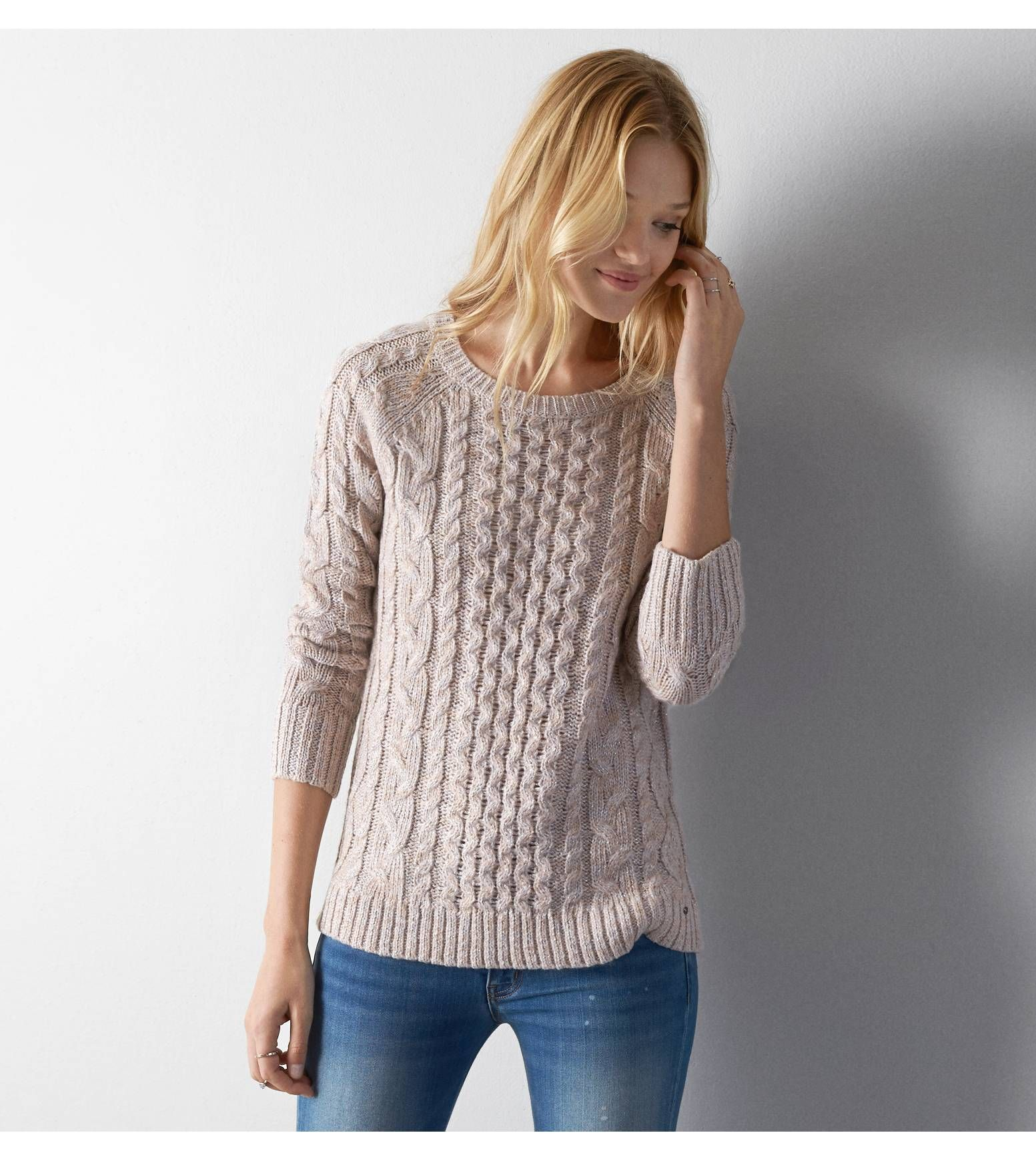 Pale Pink AEO Cable Knit Sweater | Fantasy Wardrobe | Pinterest ...