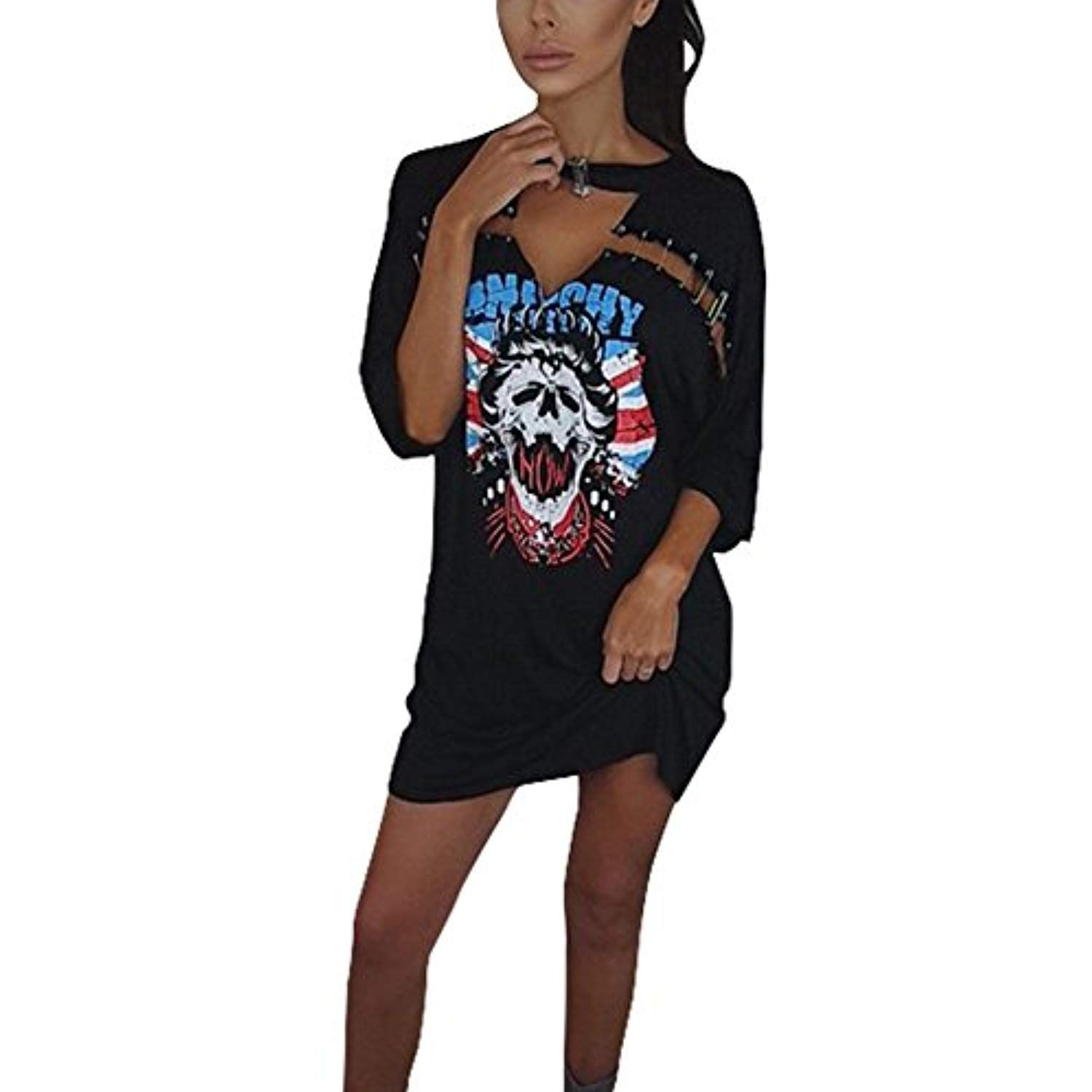 0fd5d4b9aa8e Women's Funny Skull T Shirt Dress Short Sleeve Round Neck Front Cut Out  Irregualr Hem Mini Dress * Want to know more, click on the image.