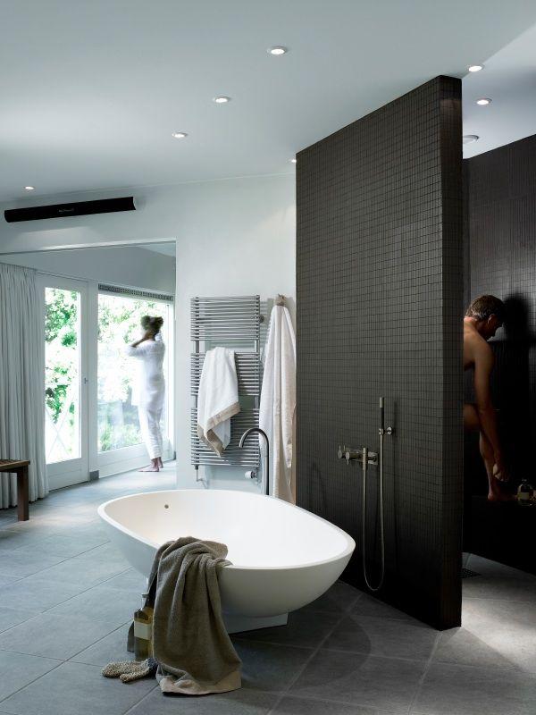 2e verdieping: Open badkamer. Slimme indeling door de douche tussen ...