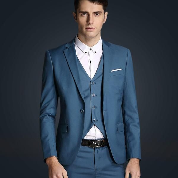 Jacket + vest + pants new men\'s fashion brand of high-end wedding ...