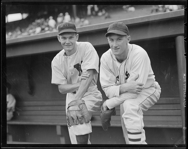 Washington Senators third baseman Buddy Lewis and Boston Red Sox third baseman Jim Tabor.: 1938