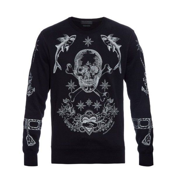 Alexander McQueen Embroidered skull cotton sweatshirt (67795 RSD) ❤ liked on Polyvore featuring men's fashion, men's clothing, men's hoodies, men's sweatshirts, black, mens crewneck sweatshirts and mens crew neck sweatshirts