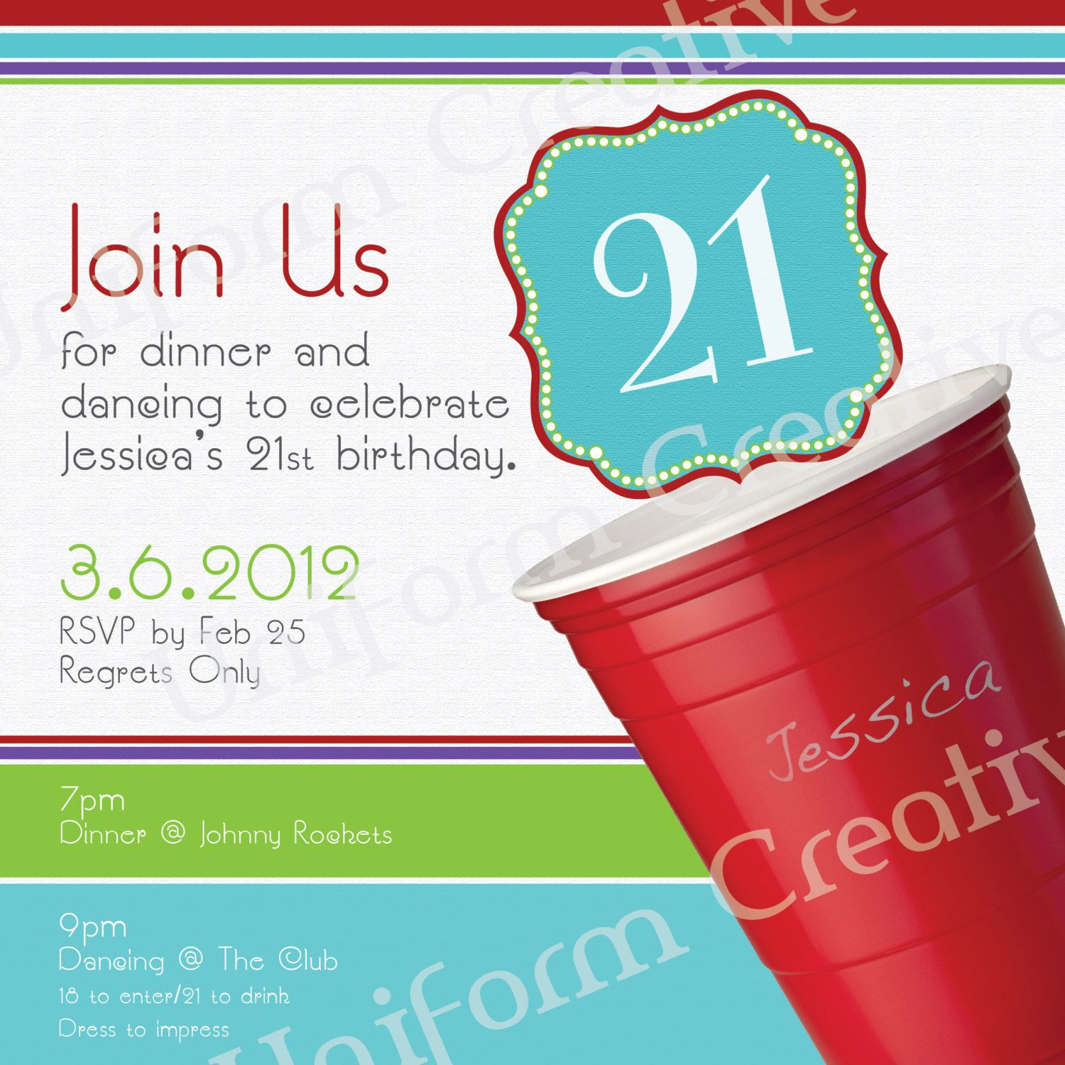 Red Cup/21st Birthday Party Invitation Design. $15.00, Via