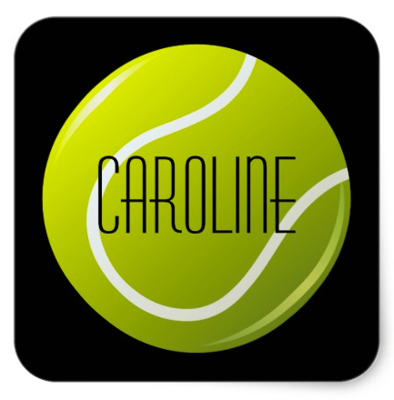 Tennis Ball On Black Background Personalized Name Square Sticker Decorative Stickers Or Envelope Seals Featuring A Cartoon Black Backgrounds Tennis Ball Names