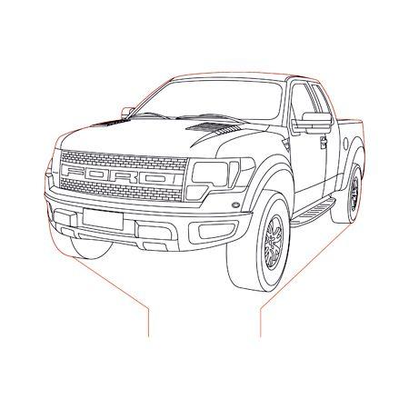 Ford Raptor 3d illusion lamp plan vector file for Laser