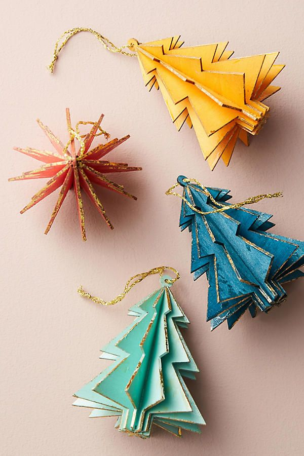Wooden Christmas ornaments Anthropologie Wooden Tree