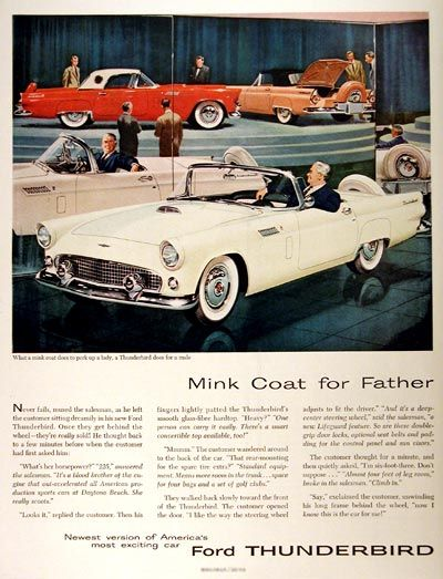 Vintage Ads 1955 1957 Thunderbird The Light Of Hand Performer Ford Thunderbird Automobile Advertising Classic Cars Trucks