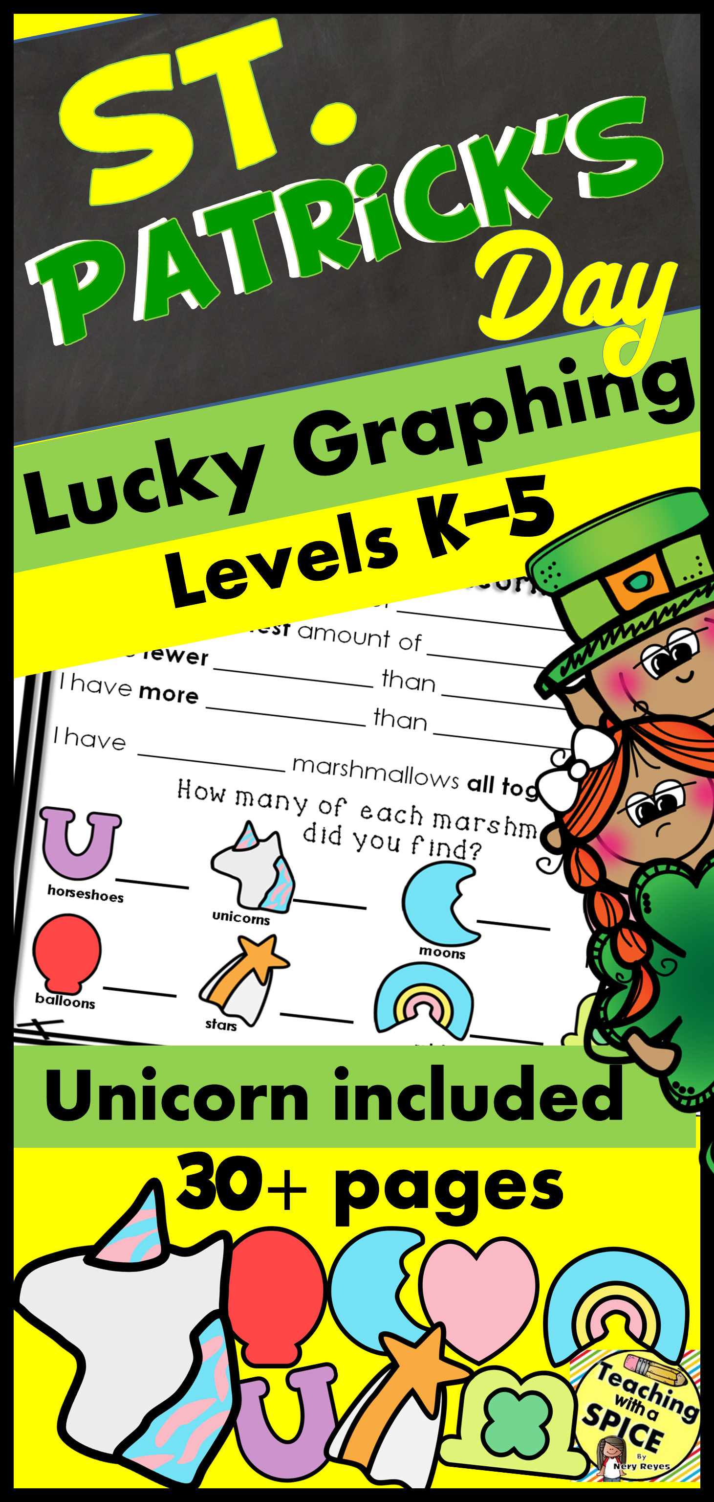 St Patricks Day Math Lucky Graphing With Unicorn