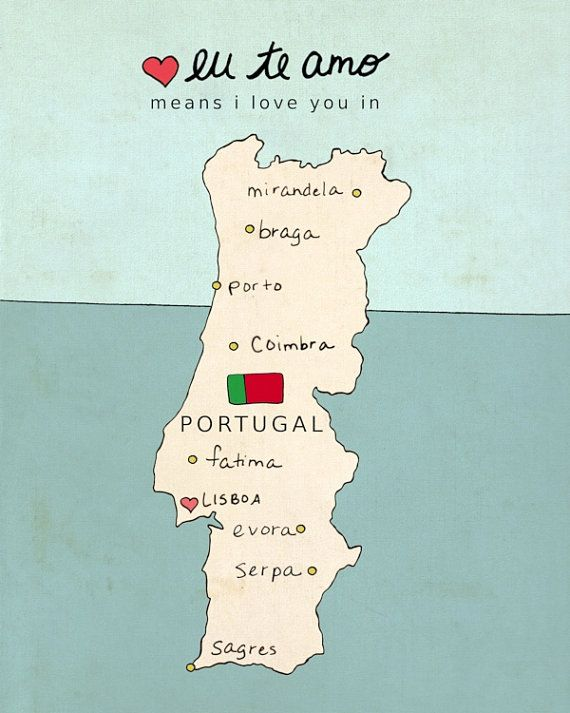I Love You In Portugal Typographic Poster Portuguese Map - Portugal election map