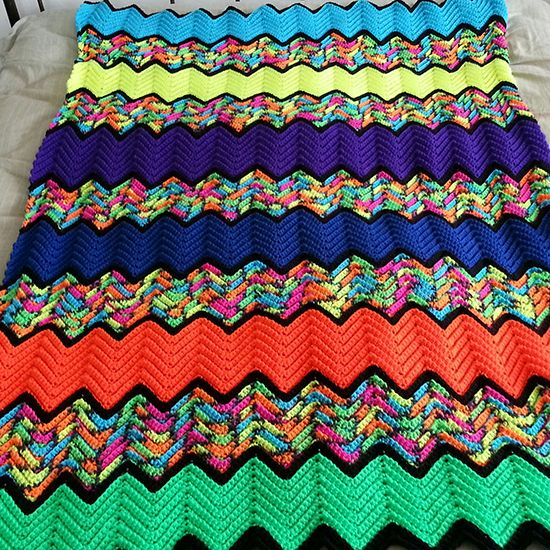 Ridged Zig Zag Afghan Crochet Afghan Ripple Zigzag Wave Chevron