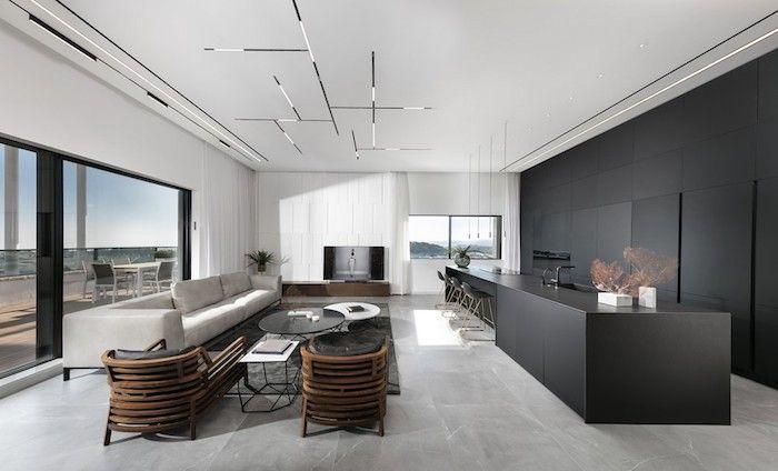 Moderne Wohnzimmer Ideen In Eleganten Stil, Weißer Marmorboden, Schwarze  Möbel, Graues Sofa,